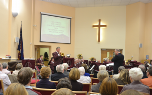 Flugel horn soloist, Jim Rogers, performs during the LCFB concert at St Albans