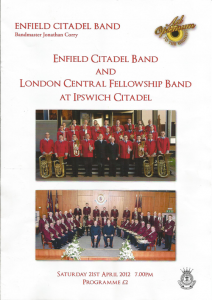 Programme cover from joint concert with Enfield Salvation Army Band and LCFB